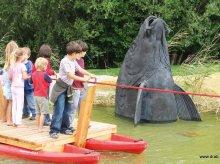 Fischkopf aus Bronzeguss fuer den Wasserspielplatz bei der Reichsbruecke in Wien